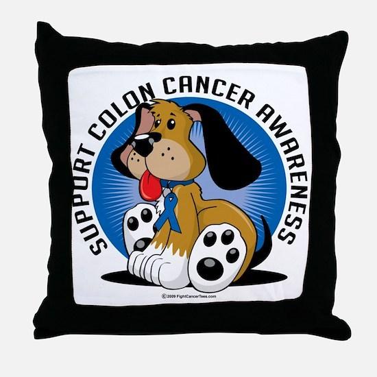 Colon-Cancer-Dog Throw Pillow
