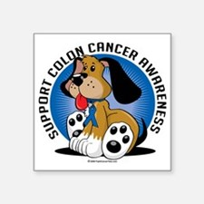 "Colon-Cancer-Dog Square Sticker 3"" x 3"""