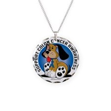 Colon-Cancer-Dog Necklace Circle Charm