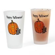 happyhalloweenblack_squirrel_trans Drinking Glass