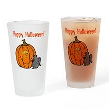 happyhalloweenorange_squirrel_trans Drinking Glass