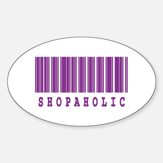 Shopaholic Barcode Design Oval Decal