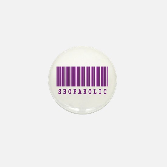 Shopaholic Barcode Design Mini Button