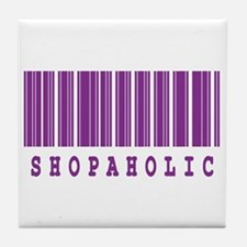 Shopaholic Barcode Design Tile Coaster