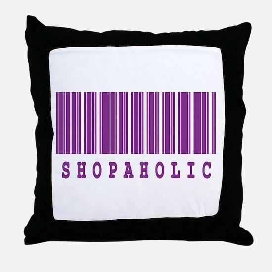 Shopaholic Barcode Design Throw Pillow