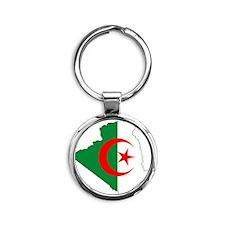 4-algeria_flag_map Round Keychain