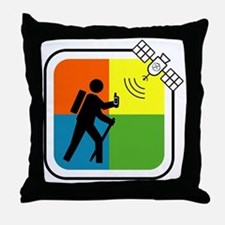 GeoCache Man Throw Pillow