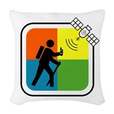 GeoCache Man Woven Throw Pillow