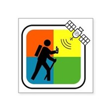 "GeoCache Man Square Sticker 3"" x 3"""