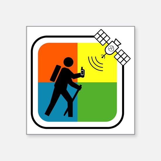 "GeoCache Man Square Sticker 3"" x 3"""
