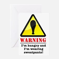 WarningSweatpantsLight Greeting Card