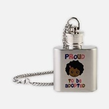 proud to be adopted girl face copy Flask Necklace