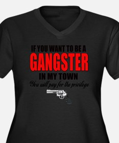 gangster Women's Plus Size Dark V-Neck T-Shirt