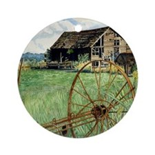 Barn  Wagon Wheel - Tile Round Ornament