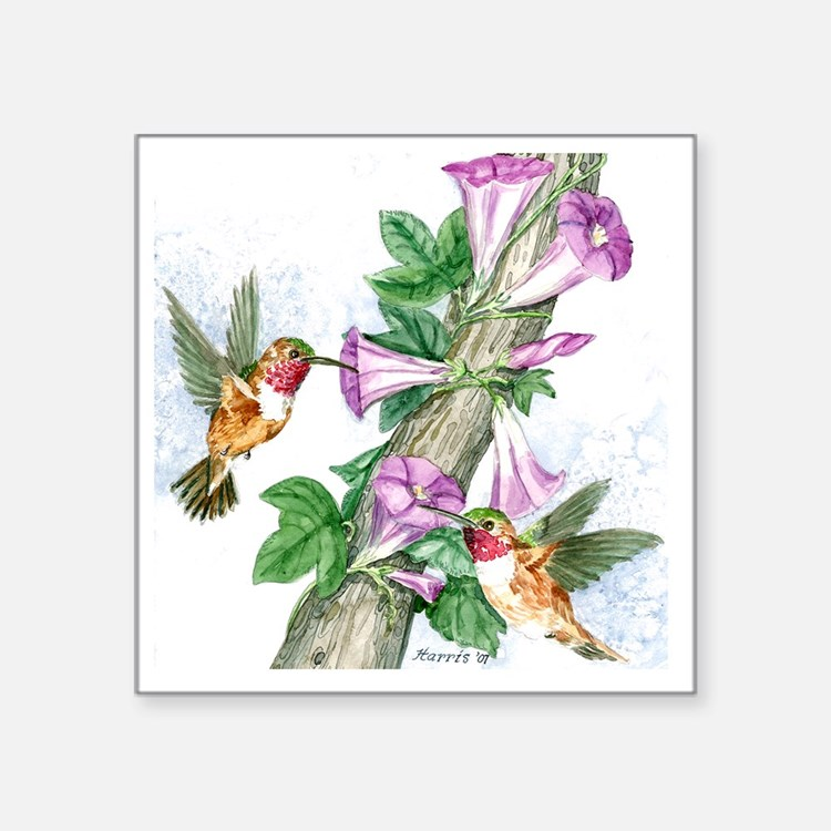"Humming Birds - Tile Square Sticker 3"" x 3"""