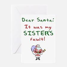 dear_santa_sister_dark Greeting Card