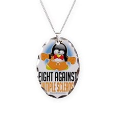 MS-Boxing-Penguin Necklace Oval Charm