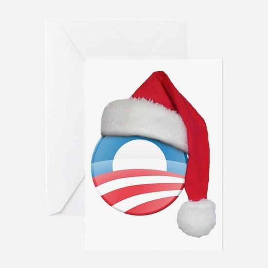 santa_hat_obama_logo_dark Greeting Card