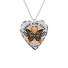 Multiple-Sclerosis-Butterfly- Necklace Heart Charm