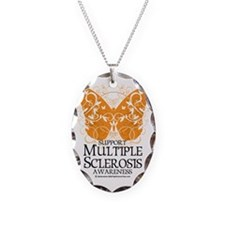 Multiple-Sclerosis-Butterfly Necklace Oval Charm