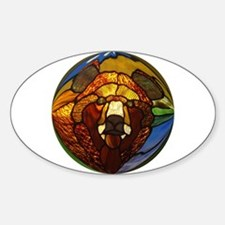 STAINED GLASS BEAR HEAD Oval Stickers
