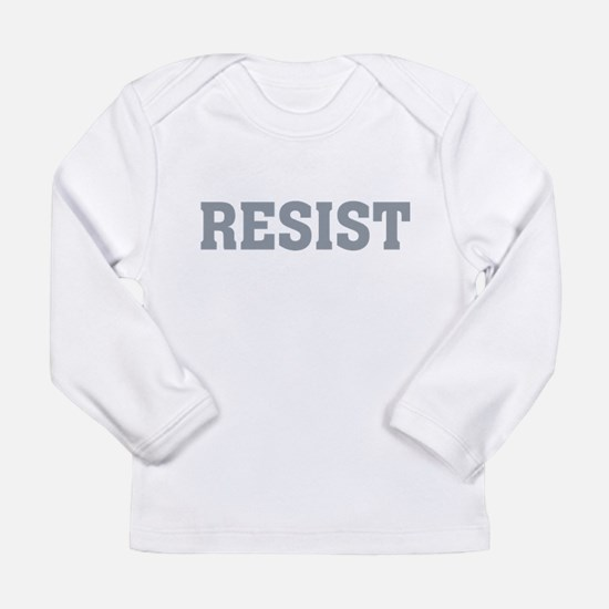 Resist Typography in Grey Long Sleeve T-Shirt