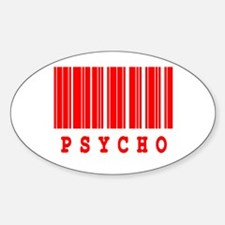 Psycho Barcode Design Oval Decal