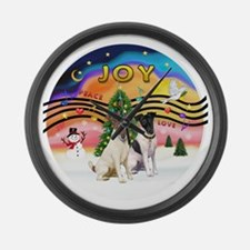 XMusic 2 - Two Fox Terriers (s) Large Wall Clock