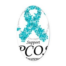 PCOS-Ribbon-Of-Butterflies Oval Car Magnet