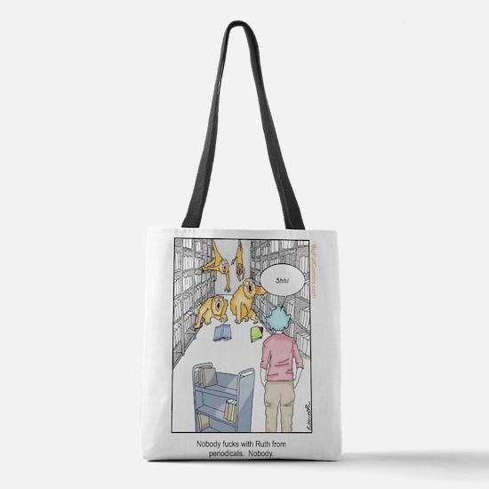 Librarians are gangsta af Polyester Tote Bag