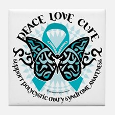 PCOS-Butterfly-Tribal-2 Tile Coaster