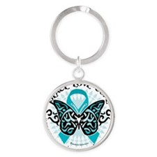 PCOS-Butterfly-Tribal-2 Round Keychain