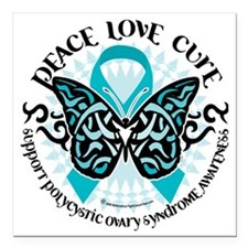 """PCOS-Butterfly-Tribal-2 Square Car Magnet 3"""" x 3"""""""