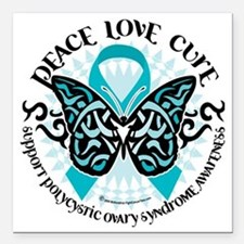 "PCOS-Butterfly-Tribal-2 Square Car Magnet 3"" x 3"""