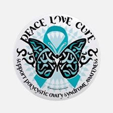 PCOS-Butterfly-Tribal-2 Round Ornament