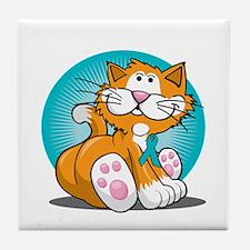 PCOS-Cat-blk Tile Coaster