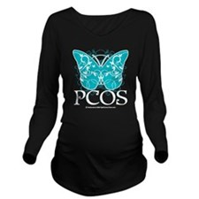 PCOS-Butterfly-BLK Long Sleeve Maternity T-Shirt