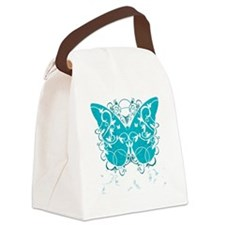 PCOS-Butterfly-BLK Canvas Lunch Bag