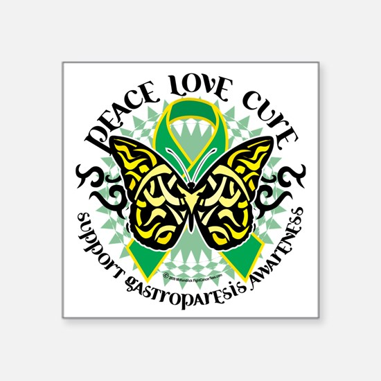 """Gastroparesis-Butterfly-Tri Square Sticker 3"""" x 3"""""""