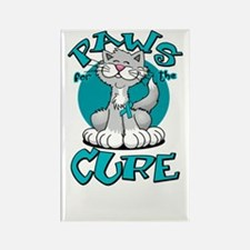 Paws-for-the-Cure-Cat-PCOS-blk Rectangle Magnet