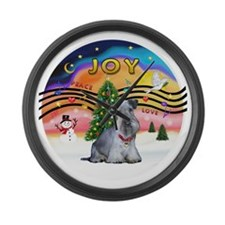 XMusic2-Cesky Terrier (slate) Large Wall Clock