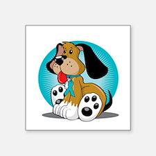 "PCOS-Dog-blk Square Sticker 3"" x 3"""