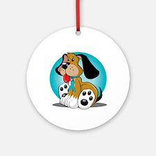 PCOS-Dog-blk Round Ornament