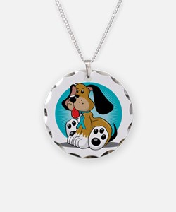 PCOS-Dog-blk Necklace Circle Charm