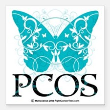 "PCOS-Butterfly Square Car Magnet 3"" x 3"""