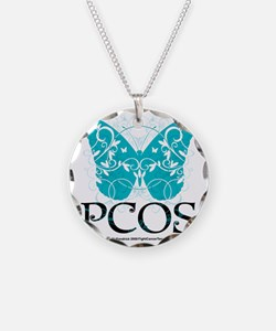 PCOS-Butterfly Necklace Circle Charm