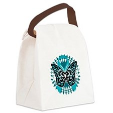 PCOS-Butterfly-Tribal-2-blk Canvas Lunch Bag
