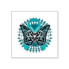 "PCOS-Butterfly-Tribal-2-blk Square Sticker 3"" x 3"""