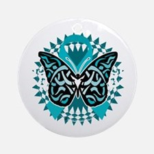 PCOS-Butterfly-Tribal-2-blk Round Ornament