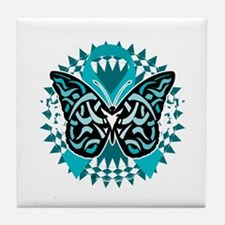 PCOS-Butterfly-Tribal-2-blk Tile Coaster
